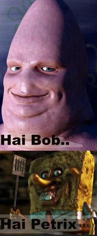Bob and Petrix. Hi Bob.... spongebob patrick SquarePants star shit nickelodeon Scary poop pee tits Boobs