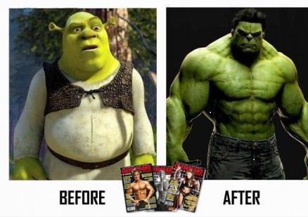 bowflex. shrek. Hulk