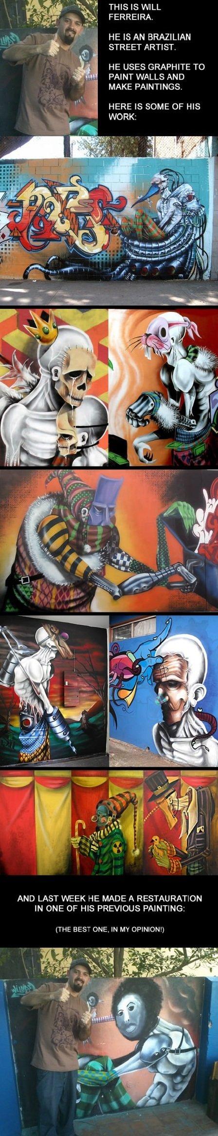 Brazilian Street Artist. How society classifies stuff like this as vandalism is beyond me, this is amazing.. HE IS AN BRAZILIAN STREET ARTIST. HE USES GRAPHITE  Brazil street Art
