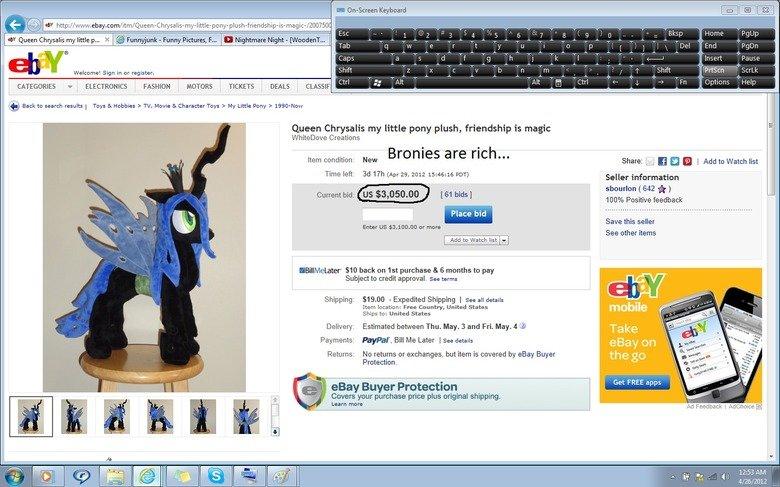 Bronies are rich...(link in description). www.ebay.com/itm/Queen-Chrysalis-my-little-pony-plush-friendship-is-magic-/200750064623?pt=LH_DefaultDomain_0&hash=ite