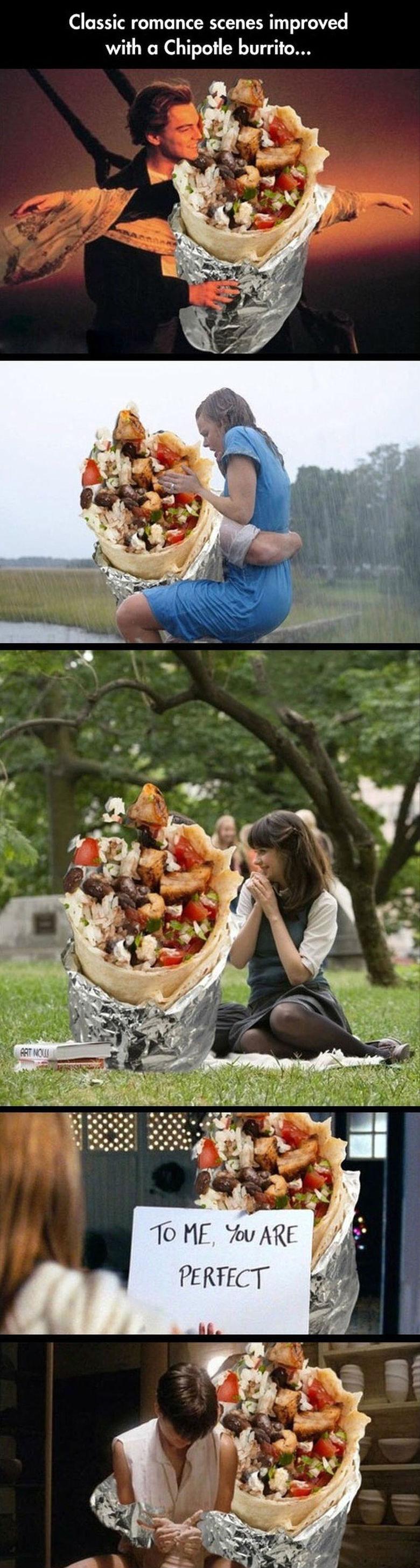 Burrito is life. . Classic romance scenes improved with a Chipotle burrito...