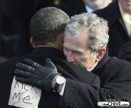 bush hates obama. this is what bush REALLY thinks about obama.. lol haha bush obama kickme