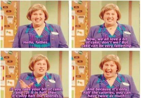 Cake logic. Twice the cake, half the potato.