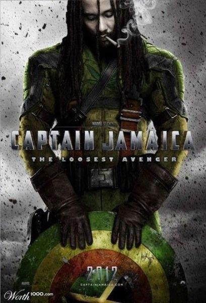 Captain Jamaica. Just found it not mine. jamaica Inkfox Bob Marley captain america joint High shield