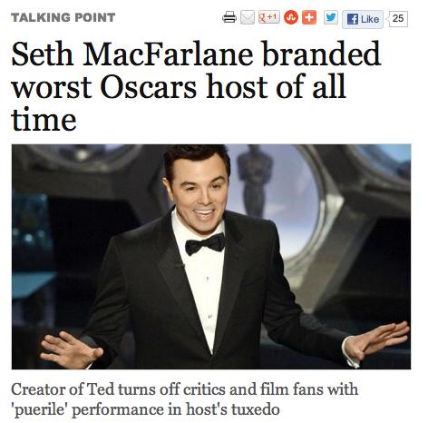 Captain Kirk Failed Him. Funny if you watched the Oscars...ahaha. Link: www.theweek.co.uk/film/oscars-2013/51685/seth-macfarlane-branded-worst-oscars-host-all-t