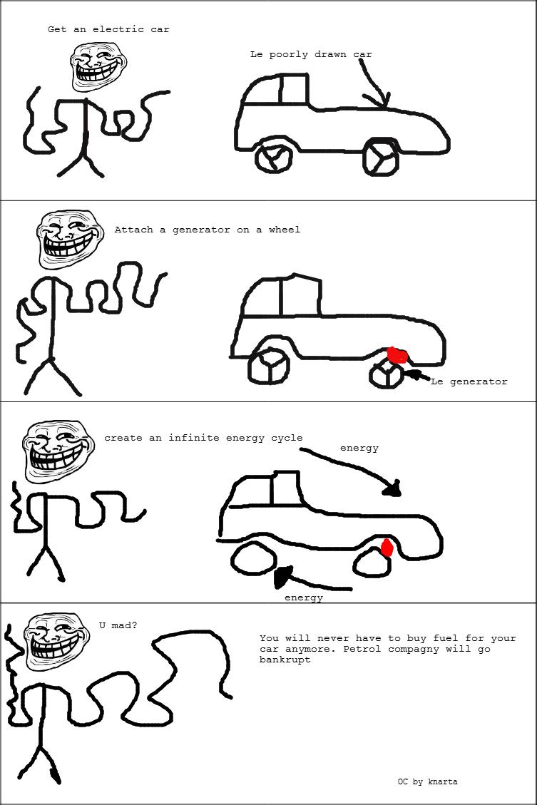 "Car science troll. OC by me As you can see, I can't draw . Get an electric car"" Le porrly drawn car"" Attach a generator en a wheel iii, ii ',' _iii, generator c"