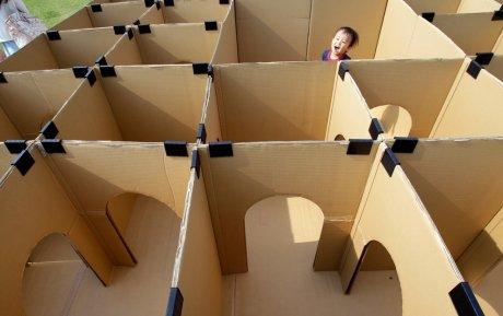 Cardboard maze. .