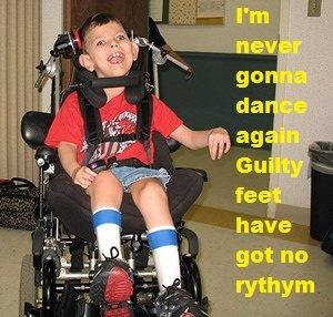 Careless Whisper..... www.youtube.com/watch?v=izGwDsrQ1eQ.. yay seether Wheelchair kid