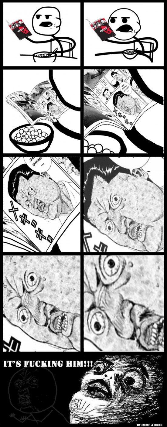 Cereal guy discovers Y U NO. Our friend the cerealguy reveals the truth behind Y U NO<br /> This is NOT OC, but i though you'd like it. S Eral' If It. ttl y u no cereal guy meme gantz discover astonish