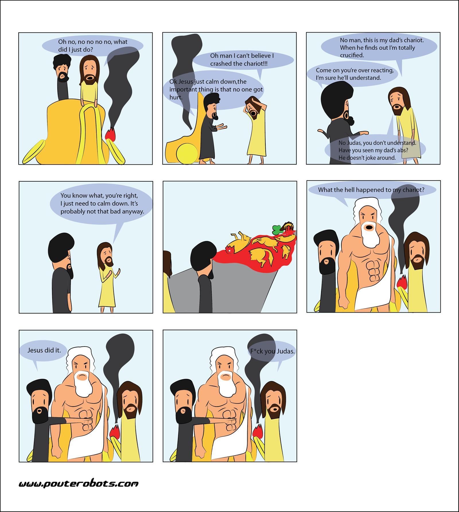 Chariot. .. wat. Zeus is Jesus' dad now? And Judas a brother? Mind - pain...