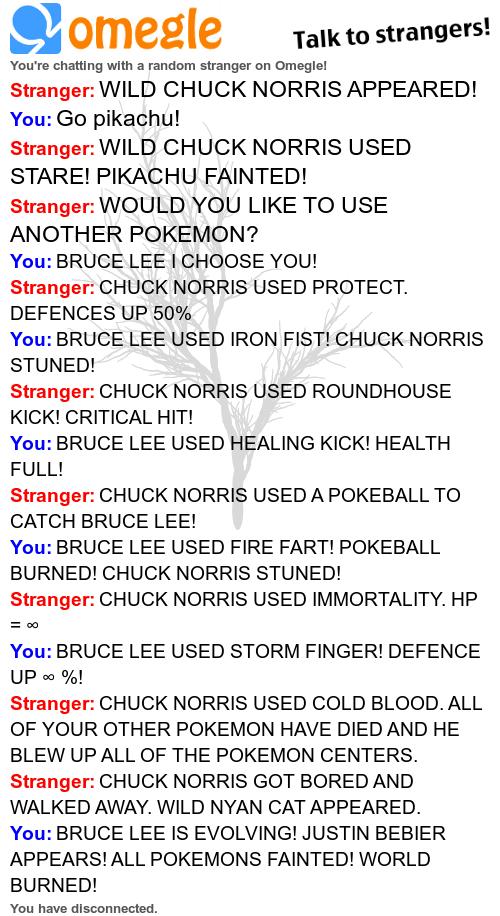Chuck Norris vs Bruce Lee. tags can fly. lli?, omegle Talk my strangers! chatting wath a random stranger on Omeglol Stranger: WILD CHUCK NORRIS APPEARED! You: G Elephant