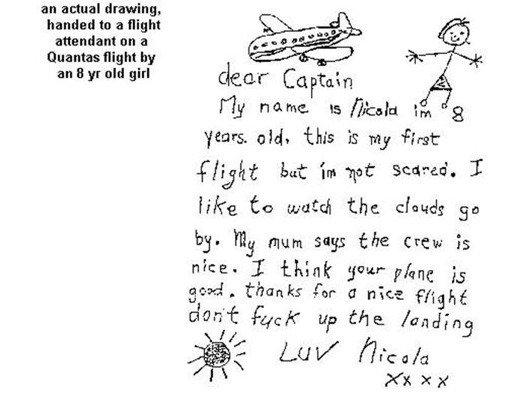 Classic Nicola... . an actual drawing, to a flight attendant an a flight an yr uh! girl miimii, ;i: dear Captain E tly . E/ Enid hr. til years. , tlo is my %st: