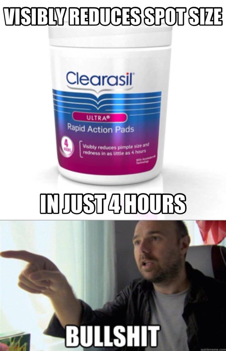 Clearasil Spot Treatment. lies.. Spots eat shit