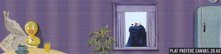 Cookie Monster. Made by Jeroom, Belgian cartoonist. Cookie monster