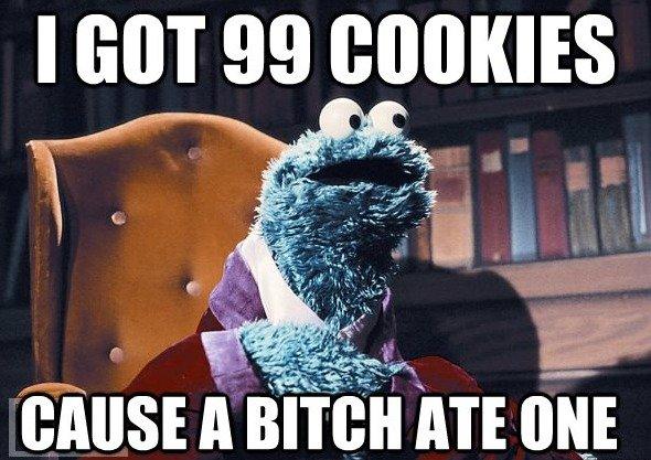 Cookie Monster. Tee Hee. I GOT 99 GOOI( IES Cookie monster problems