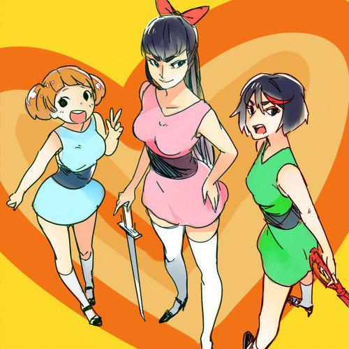 crossovers. Teen Titans Go & Evangelion Power Puff Girls & kill la kill watamote & wacky races looney tunes & kill la kill don't lose your way s