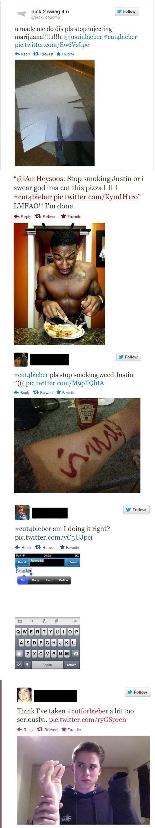 "cut4bieber. Found on . nick 2 swag 4 u I Follow ll made me do dis pls stop injecting mari) Liana! ! Hill (,ii. imjustinbieber . in feelly "" i Favorita Stop smok cut for Bieber"