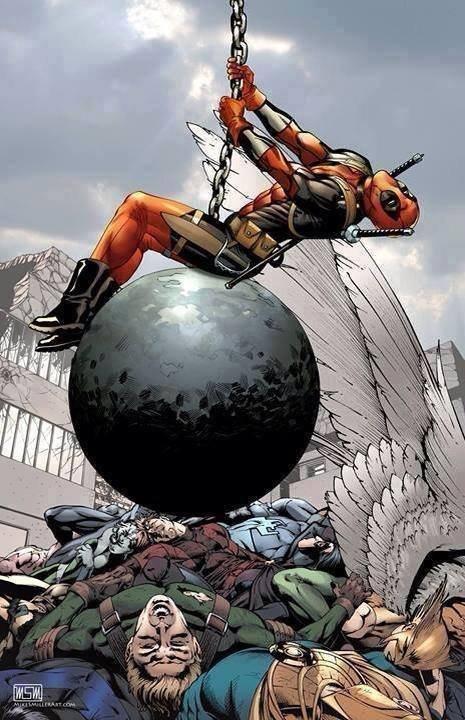deadpool. .. Deadpool is my hero...or villain... it, he's both.