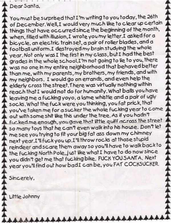 Dear Santa. .. rudeness bt its very funny