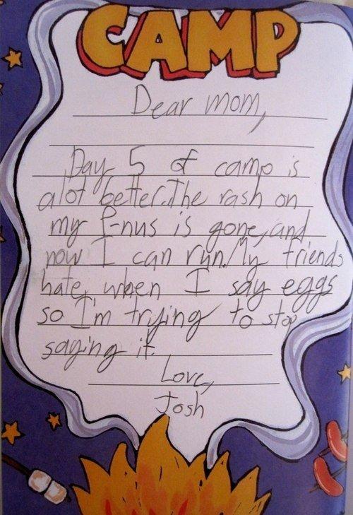 Dear Mom. . Penis camp Eggs