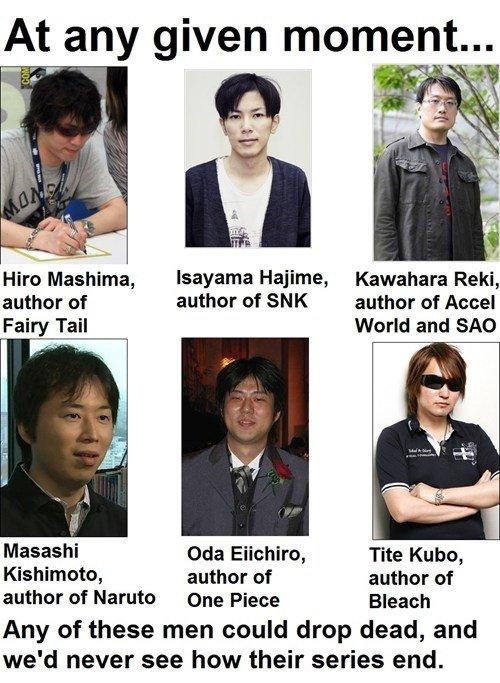 Dem authors doe. hwut. At any given momenta. Hajime, Kawahara Reki, author of author of SNK author of Fairy Tail World and who on Eiichiro, Tite Kubo, Kishimoto