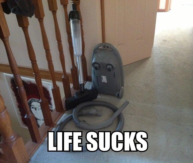 Depressed vacuum cleaner. Poor guy.. soon