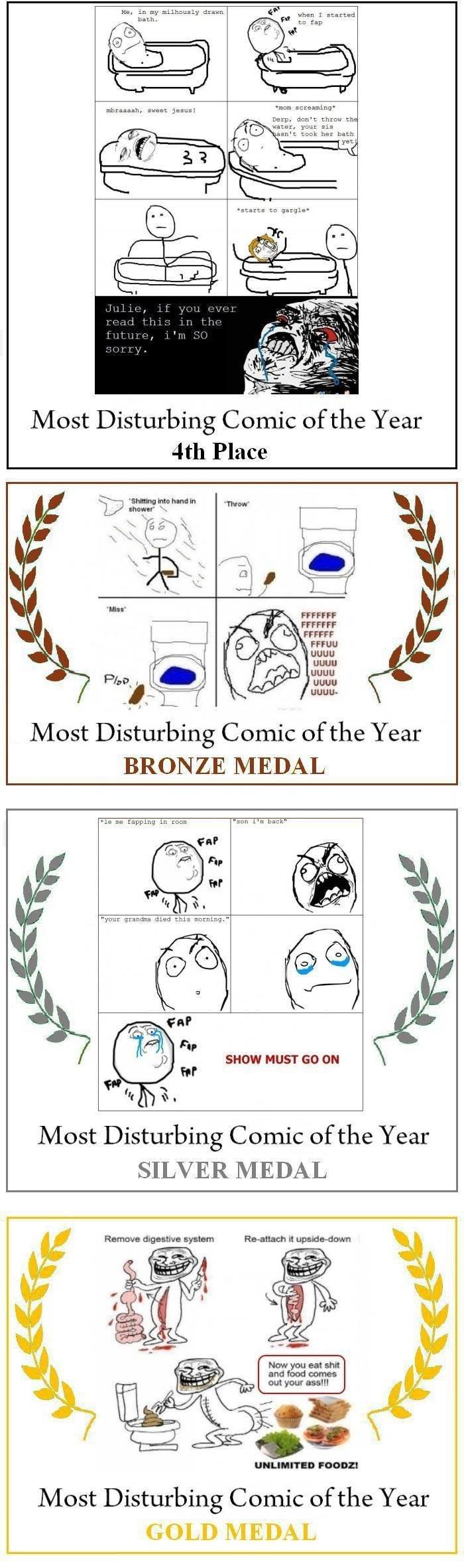 Disturbing comics. Not OC. 1: paah. Most Disturbing Comic of the Year BRONZE MEDAL Most Disturbing Comic of the Year SILVER MEDAL Most Disturbing Comic of the Y