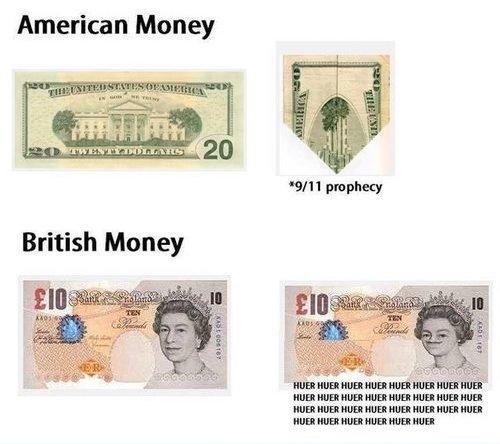 Dollars VS Pounds. Huer Majesty. American Money. MFW I spend it.
