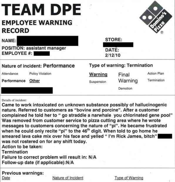 Domino's Employee Warning