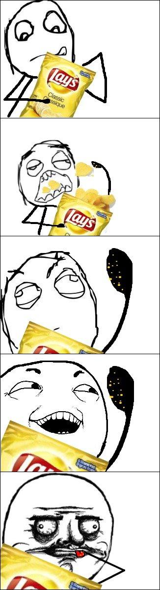 Eating Potato Chips. Damn you potato chips!!. me gusta