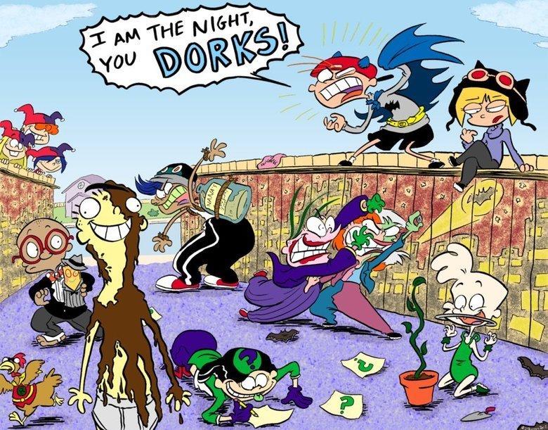 Ed, Edd, n Batman. .. Kanker Sisters: Harley Quinn Jimmy: Ventriloquist Plank: Scarface Bridget (Chicken): Robin Ed: Clayface Rolf: Bane Double D: Riddler Eddy: Joker Sarah: Two Face