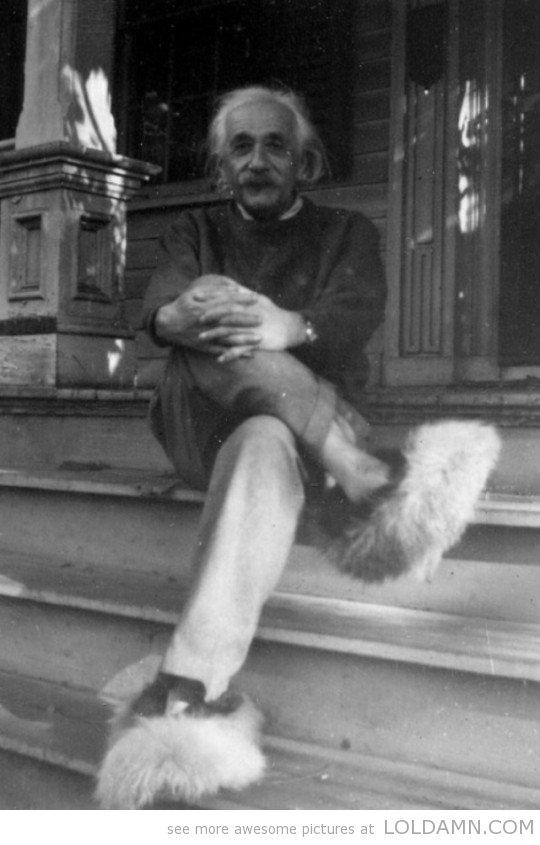 Einstein in fuzzy slippers. .. they match his hair