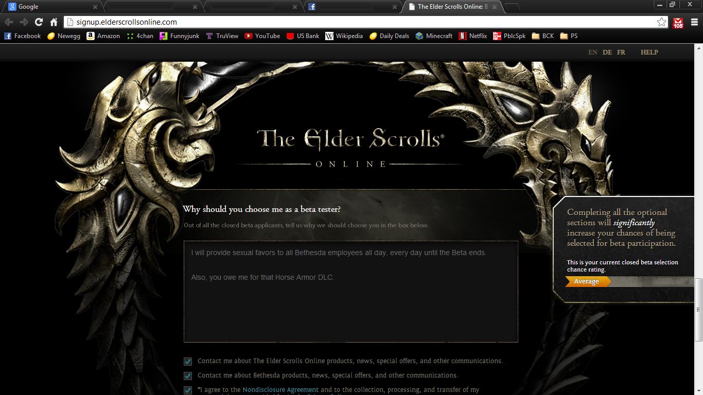 Elder Scrolls Online. yeeeeah so I really want Beta access..... todd howard