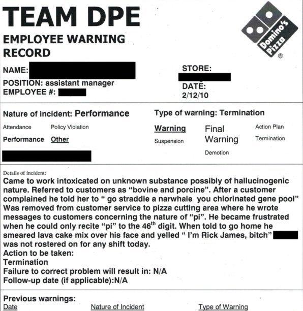Employee Warning Record