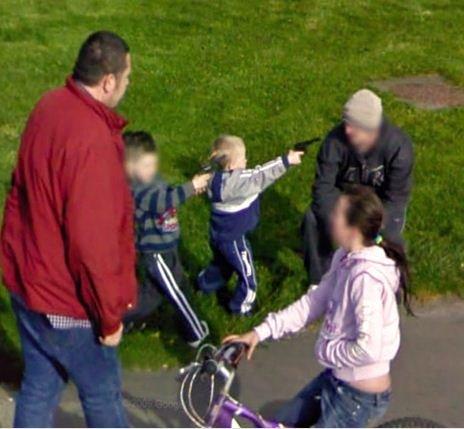 epic fail on googlemaps street cams. epic fail. kids Guns fail