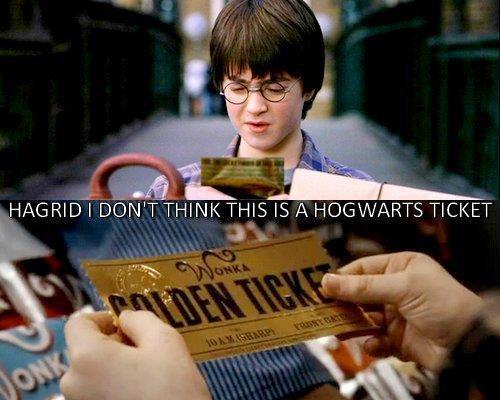 Epic lol. lol. HAGRID' ' TH. IS A HOGWARTS TICKET. Charlie, ur a wizard.