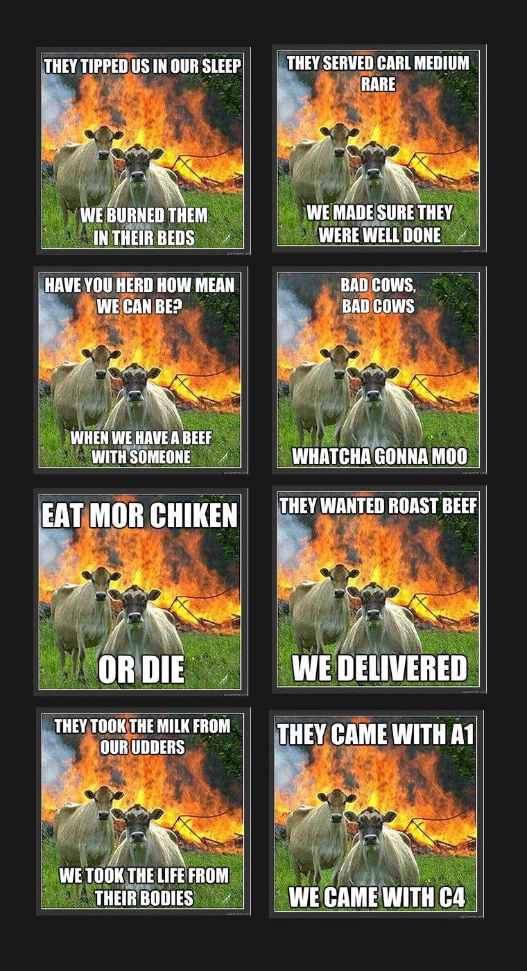 Evil Cows. . IF' III aha You new How Minn , In It I I ill, ll.
