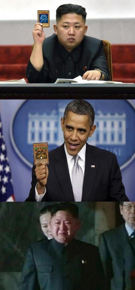 Exodia Always wins. BAM North Korea Loses.. Pretty sure BEWD beats a single exodia card.