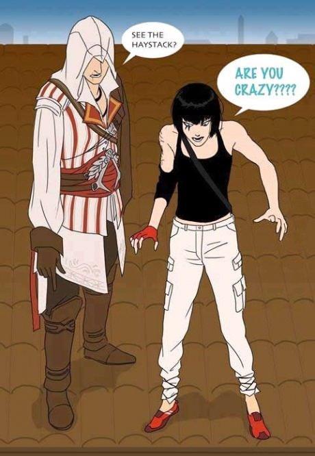 "Ezio and his apprentice. Ezio has some Faith in himself.. ""See that haystack? We should have sex in that haystack"" get it"