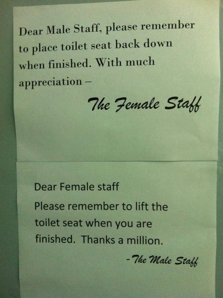 Fck feminists!. .. Dear Female staff, Please use the woman's bathroom. The Male staff