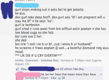Facebook (5eva). Found in my college group. gun stops melting out n asks as ta get patina. he d us. den gurl mics deep anti. den gun sais i an pregnant will u s