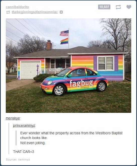 FagBug. Homobile. you look nice to