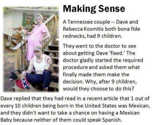 Faith in humanity, lost. . illia' i; Making Sense I E ill, A Tennessee couple - Dave and a? ' Rebeca both bone fide I I . rednecks, tacochildren, They went to t