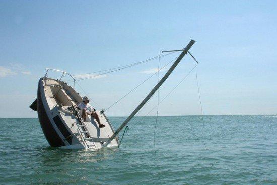 Fake capsizing boat trolls the high seas. .