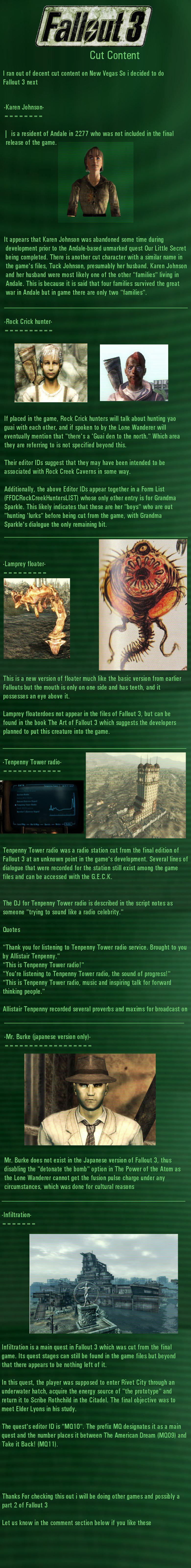 Fallout 3 Cut Content. Fallout 3 Cut Content NEW VEGAS CUT CONTENT BELOW PART 1: www.funnyjunk.com/channel/fallout/Fallout+New+Vegas+Cut+Content/olMBLby/ PART 2