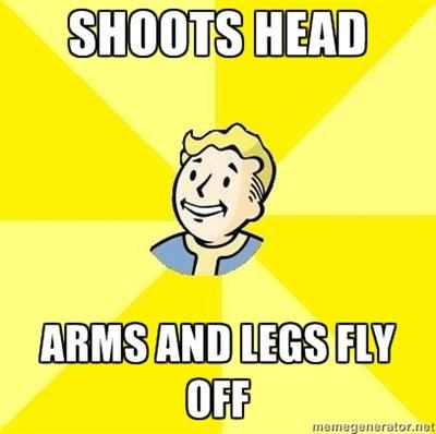 Fallout 3. Bloody mess perk.