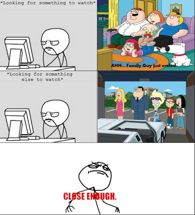 Family Guy vs. American Dad. . Linking far samething to watch' Linking for sumething else to watch