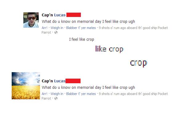 Feel like crop. This kid. Feels like a crop. OC. Cap' n tut: -352 What do u know on memorial day Heel like crop ugh h, Arr! . Weigh in . Blabber yer mates . 9 s nope