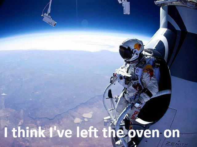 Felix Baumgartner. I wonder how he got into the capsule with his massive balls.. @description Skydive yo