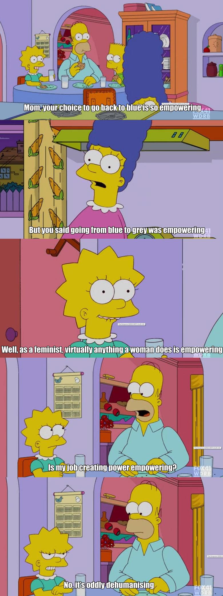 Feminism. . 1 Rt l V l l, Alla fhu q ll l Amman was EB mongering. Goddamn, I always hated Lisa so much. simpsons FEMINISM